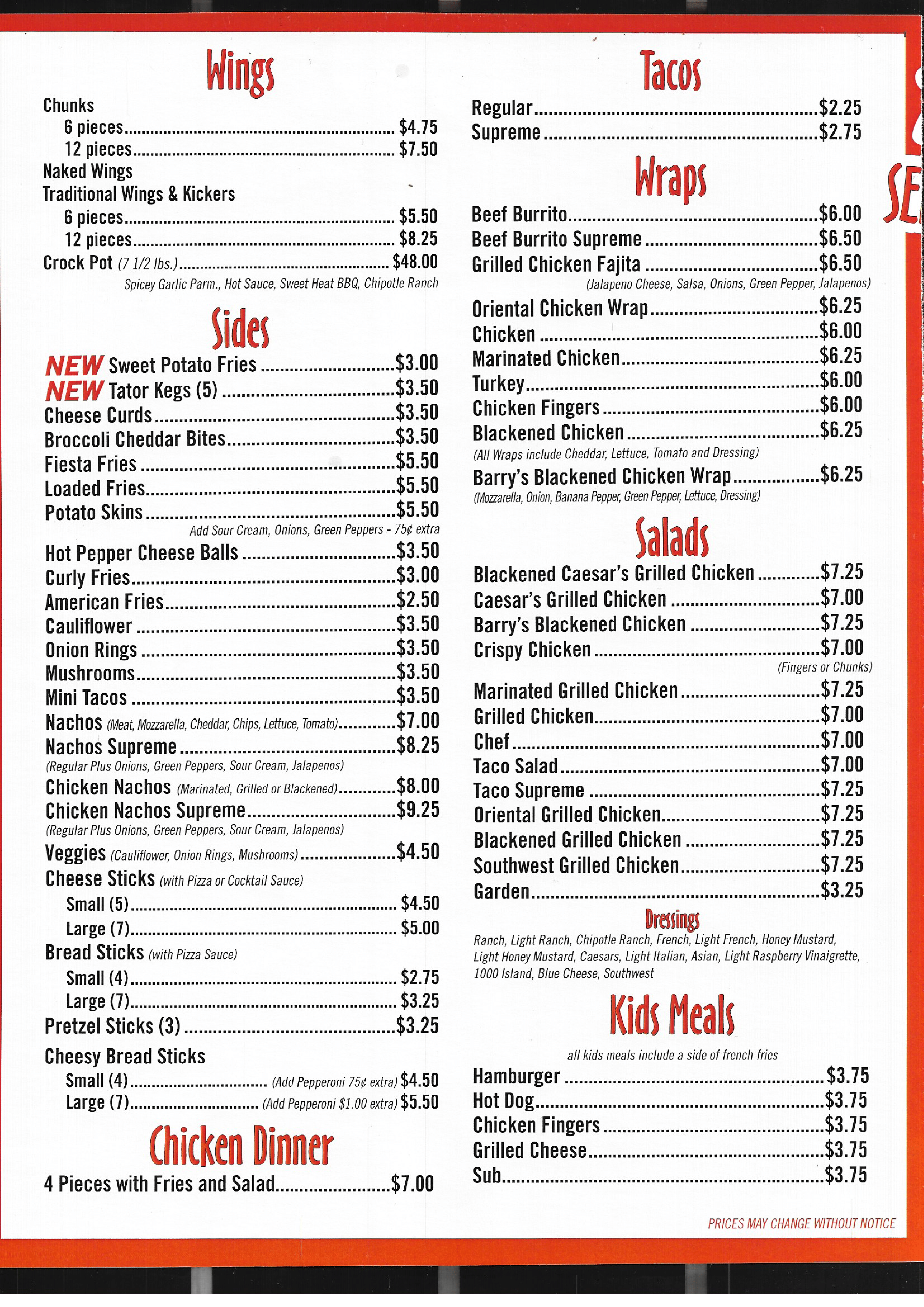 Menu Also At https://order.bohmanscarryout.com/